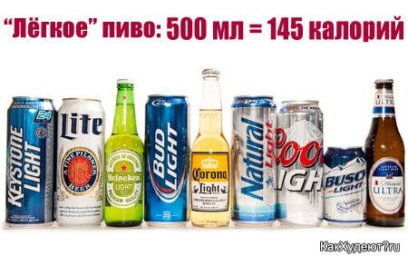Легкое пиво сколько калорий?